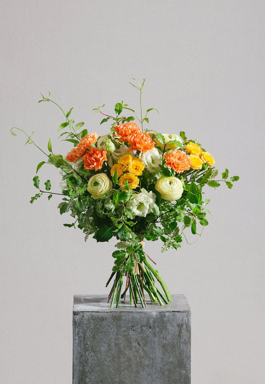 flower bouquet of carnation and ranunculus by flannel flowers