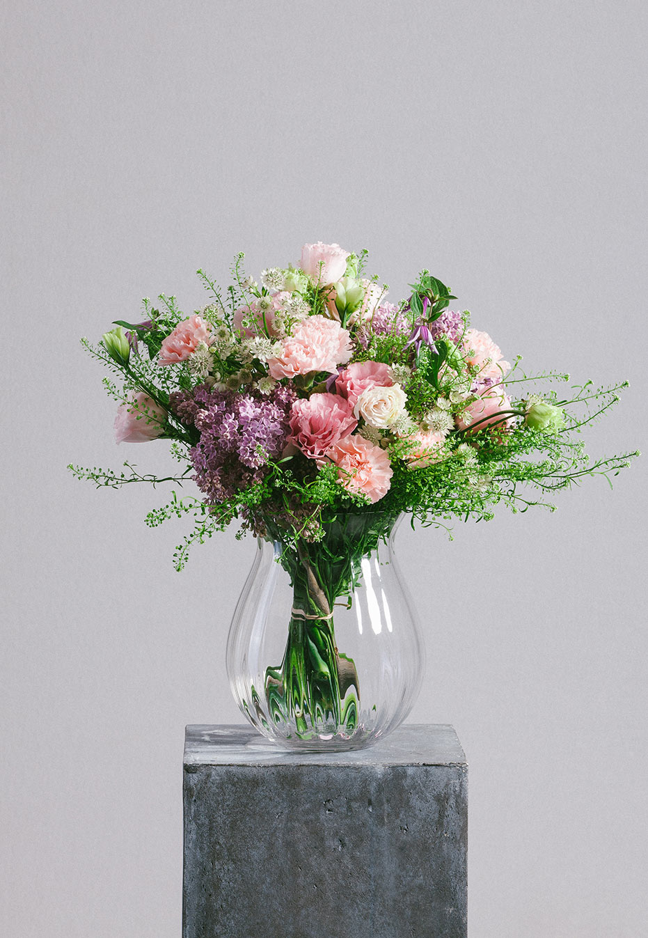 flower bouquet of carnation and clematis by flannel flowers