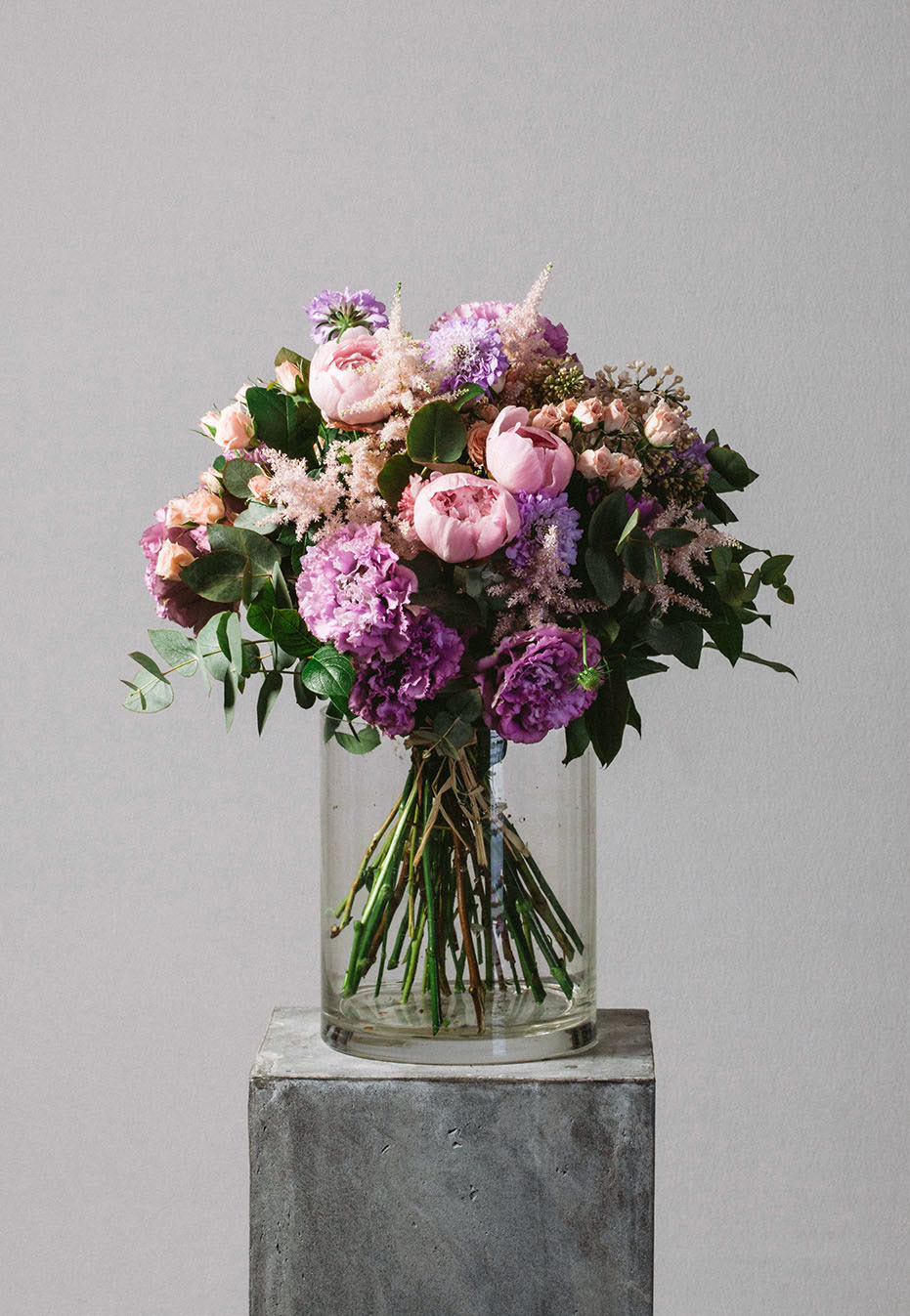 flower bouquet of peony and astilbe by flannel flowers