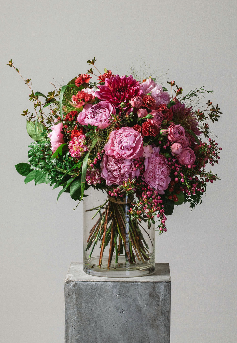 flower bouquet of rhododendron and dahlia by flannel flowers