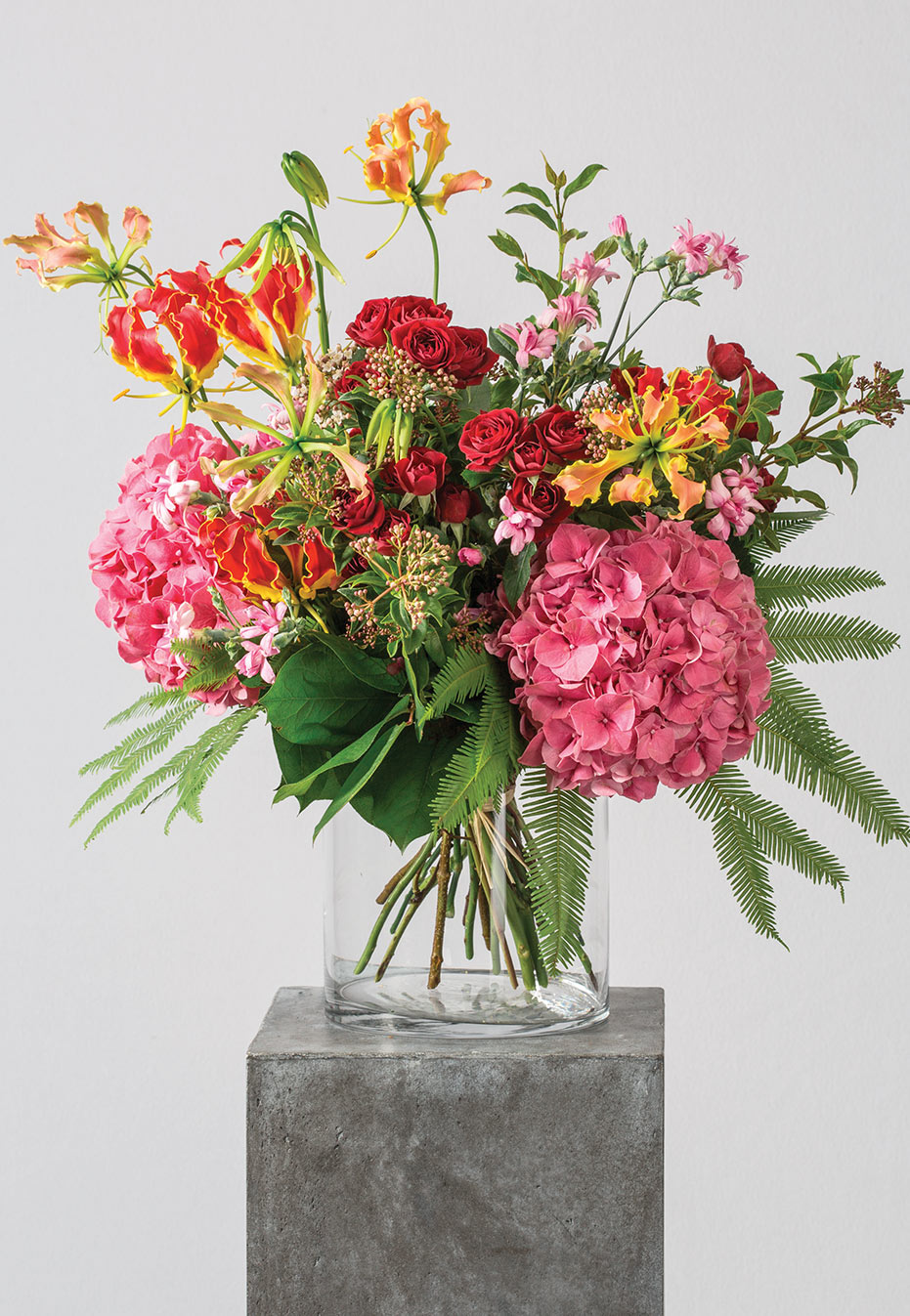 flower bouquet of hydrangea and gloriosa by flannel flowers