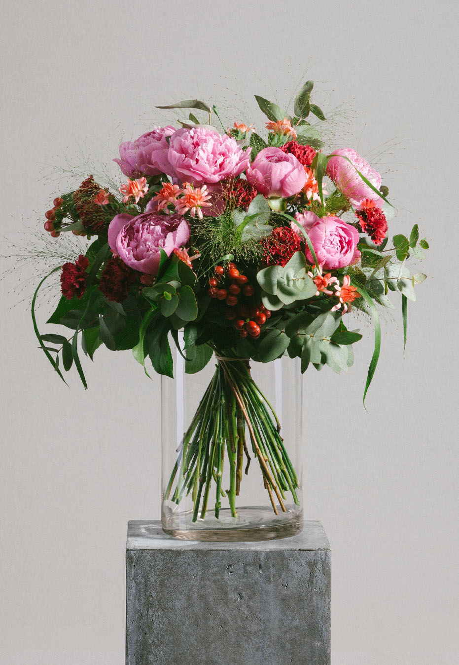 flower bouquet of peony and carnation by flannel flowers
