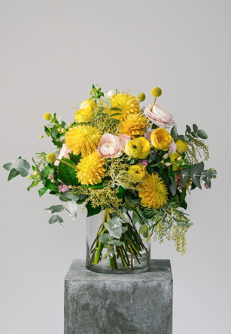 flower bouquet of japanese dahlia and ranunculus by flannel flowers