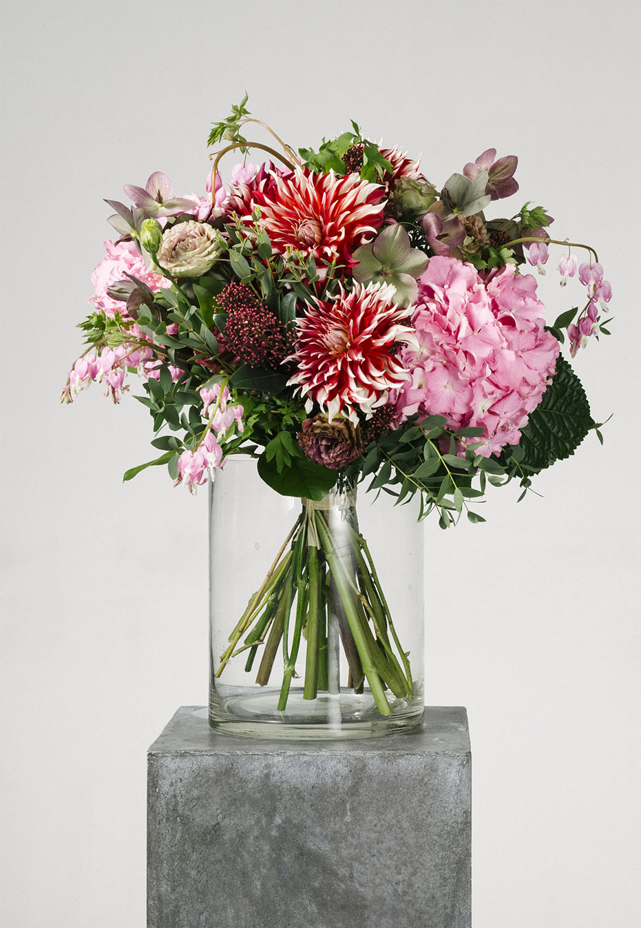 flower bouquet of dahlia and hydrangea by flannel flowers