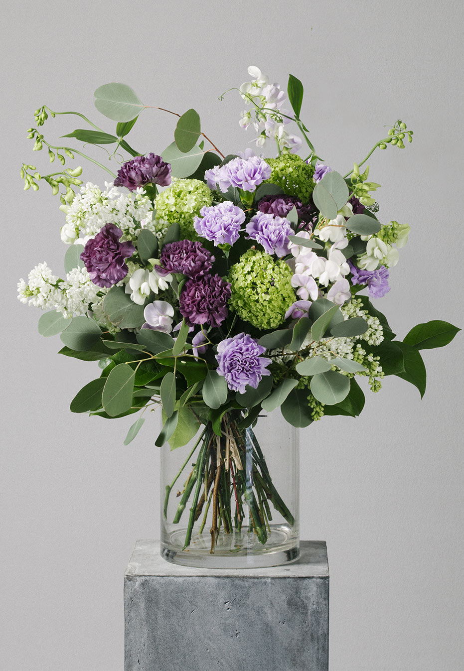flower bouquet of purple carnation by flannel flowers