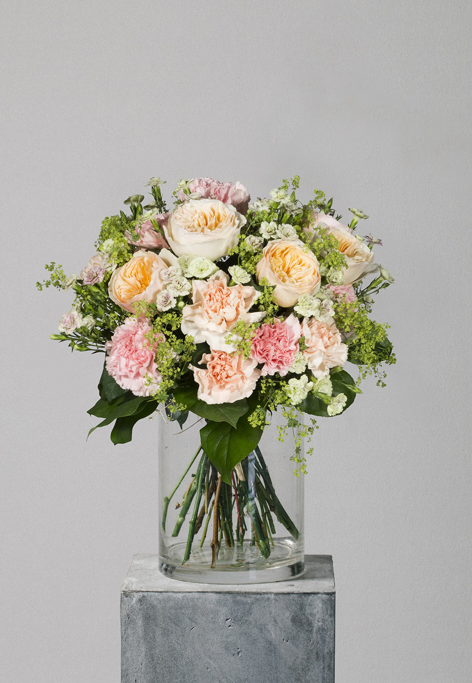 flower bouquet of garden rose and carnation by flannel flowers