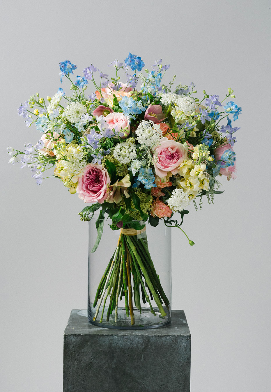 flower bouquet of garden rose and delphinium by flannel flowers