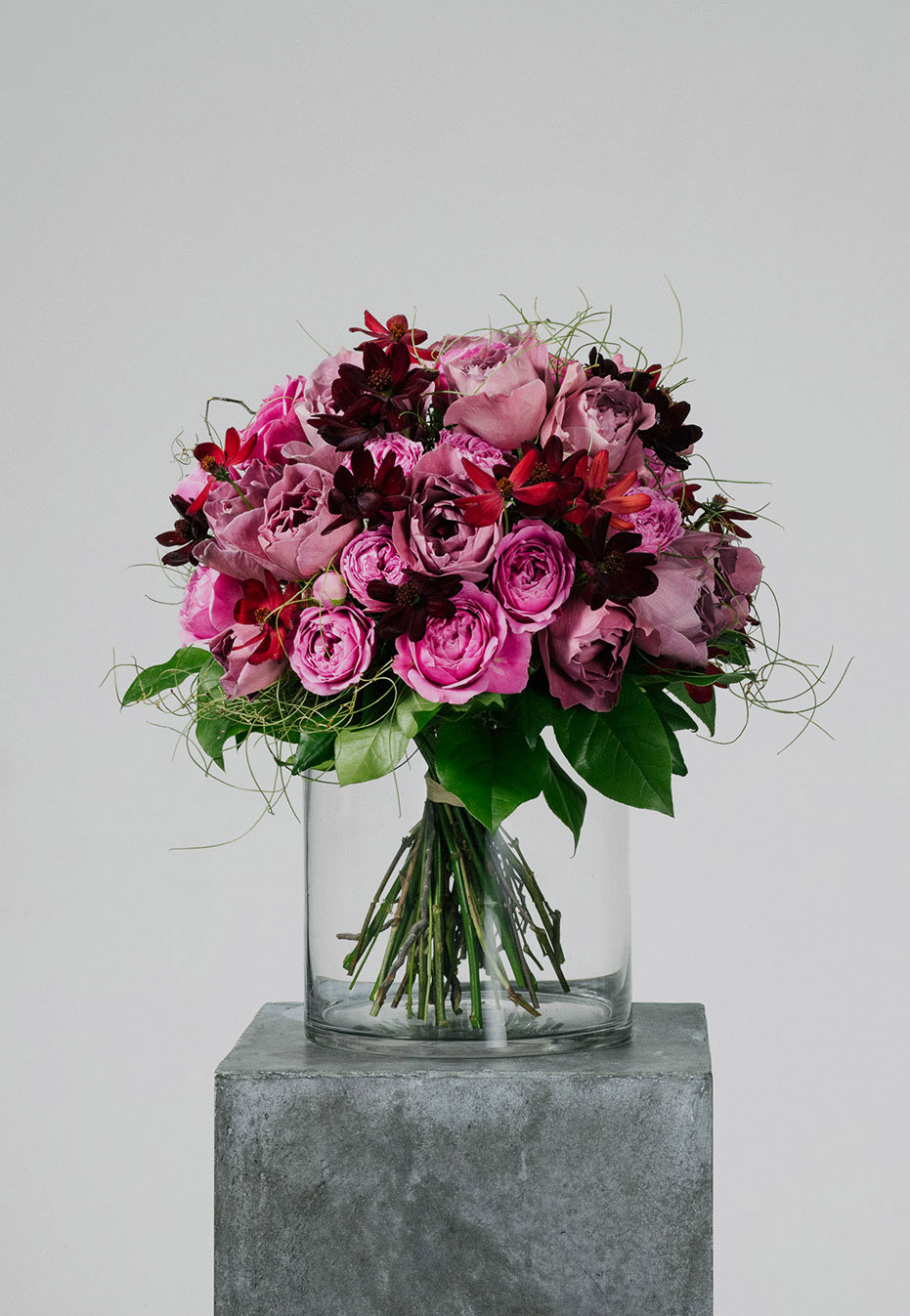 flower bouquet of rose and cosmo by flannel flowers