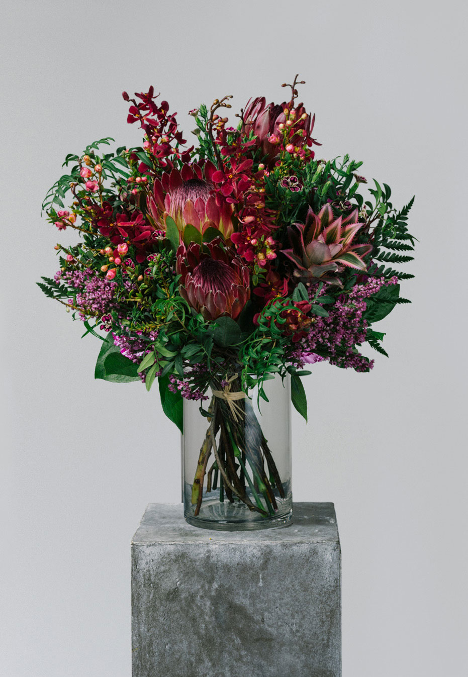 flower bouquet of protea and carnation by flannel flowers