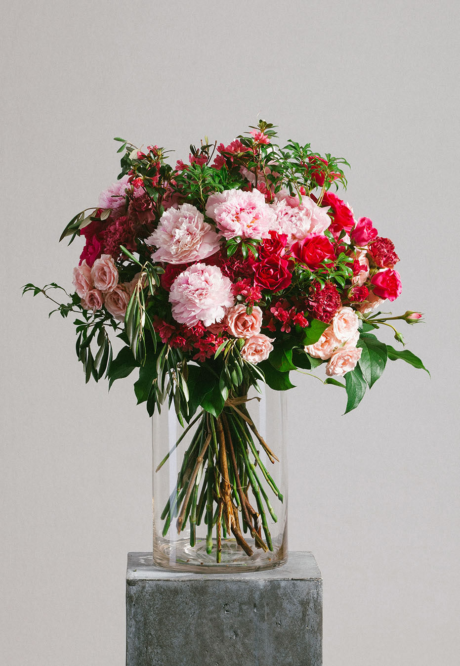 flower bouquet of peony and rhododendron by flannel flowers