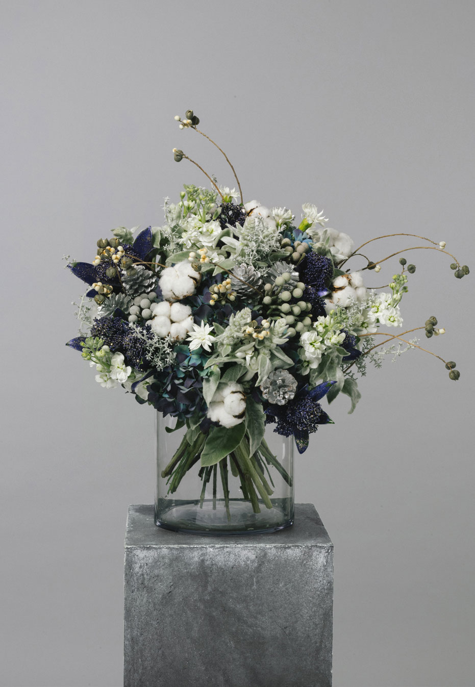 flower bouquet of hydrangea and silver brunia by flannel flowers
