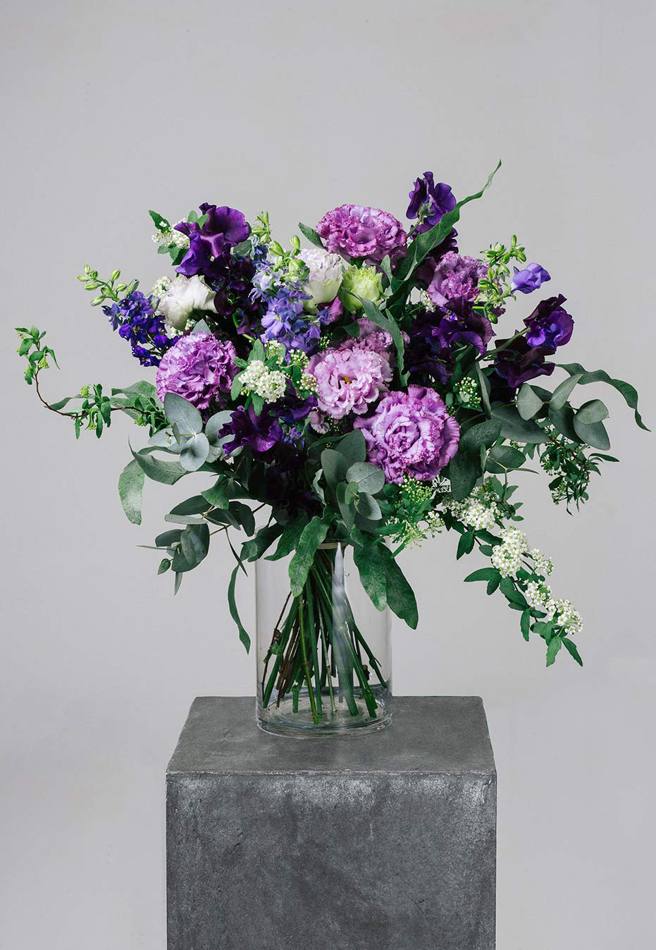 flower bouquet of eustoma and sweet peas by flannel flowers