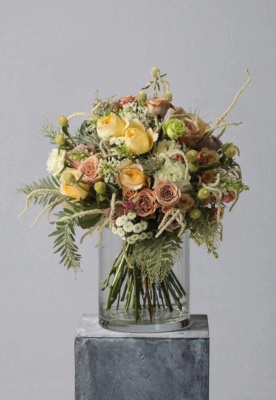 flower bouquet of garden roses by flannel flowers