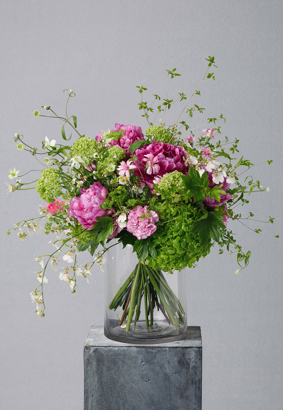 flower bouquet of peony and clematis by flannel flowers