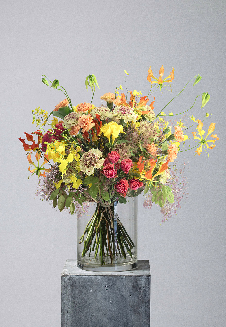flower bouquet of carnation and gloriosa by flannel flowers