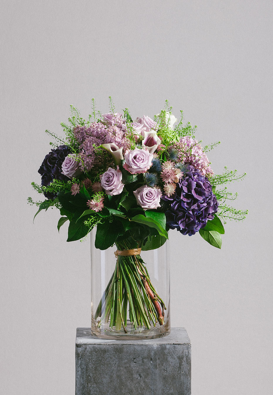 flower bouquet of hydrangea and purple rose by flannel flowers