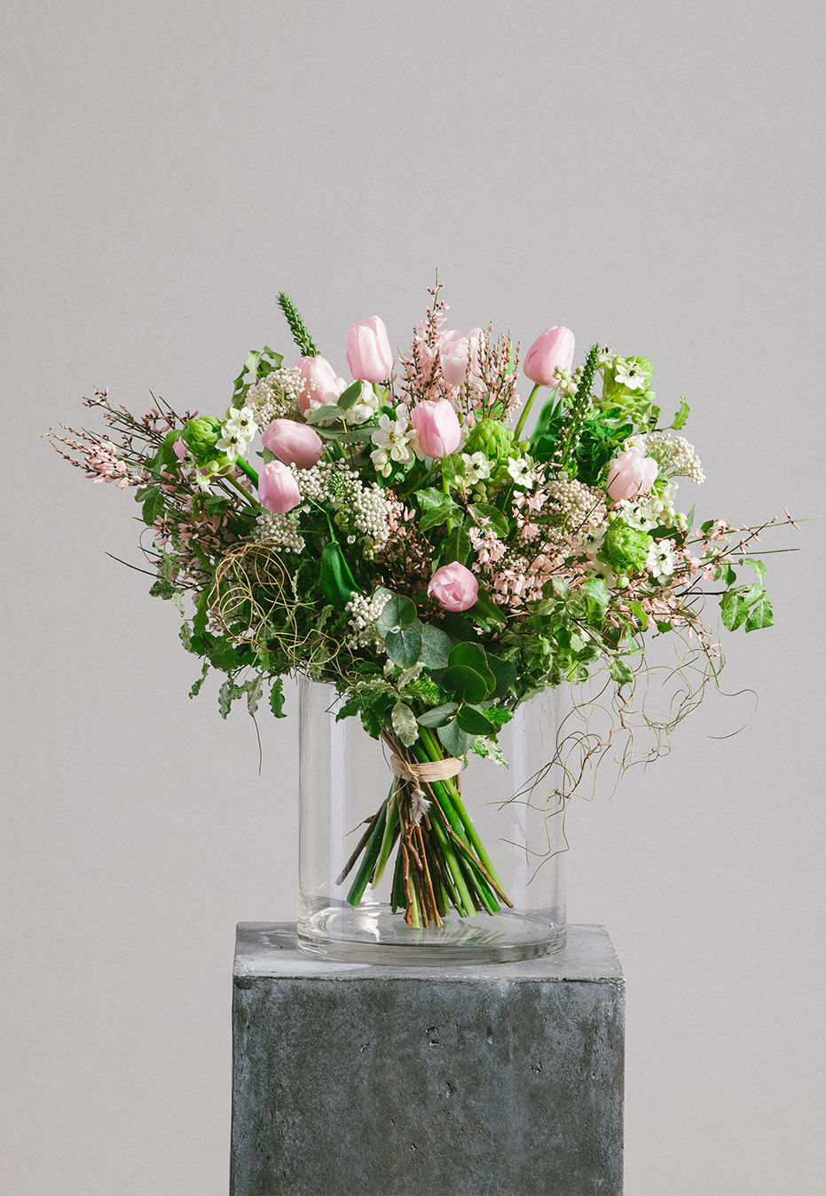 flower bouquet of dutch tulip and riceflower by flannel flowers
