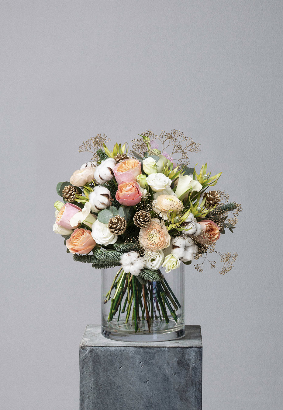 flower bouquet of ranunculus and garden rose by flannel flowers