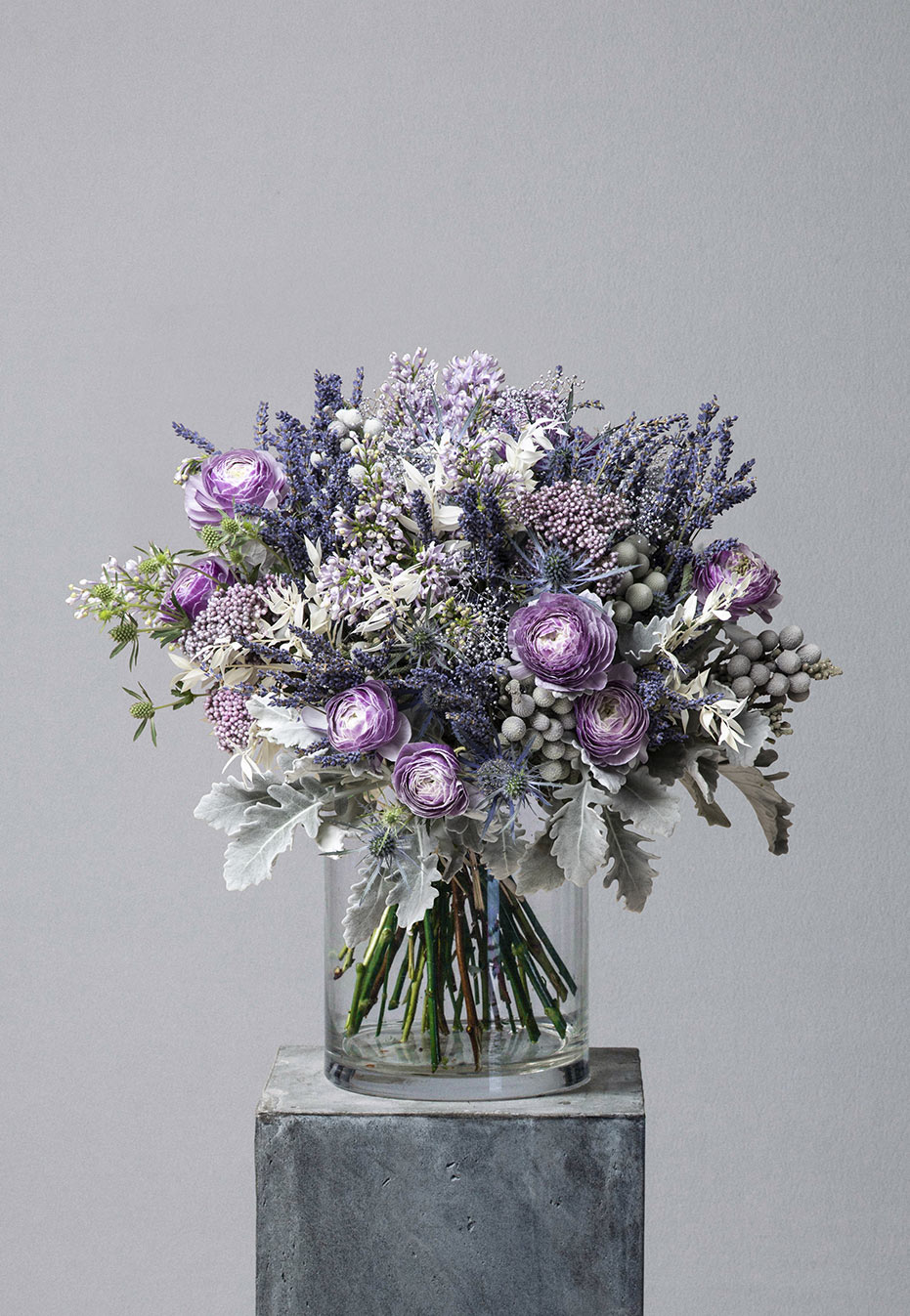 flower bouquet of ranunculus and lavender by flannel flowers