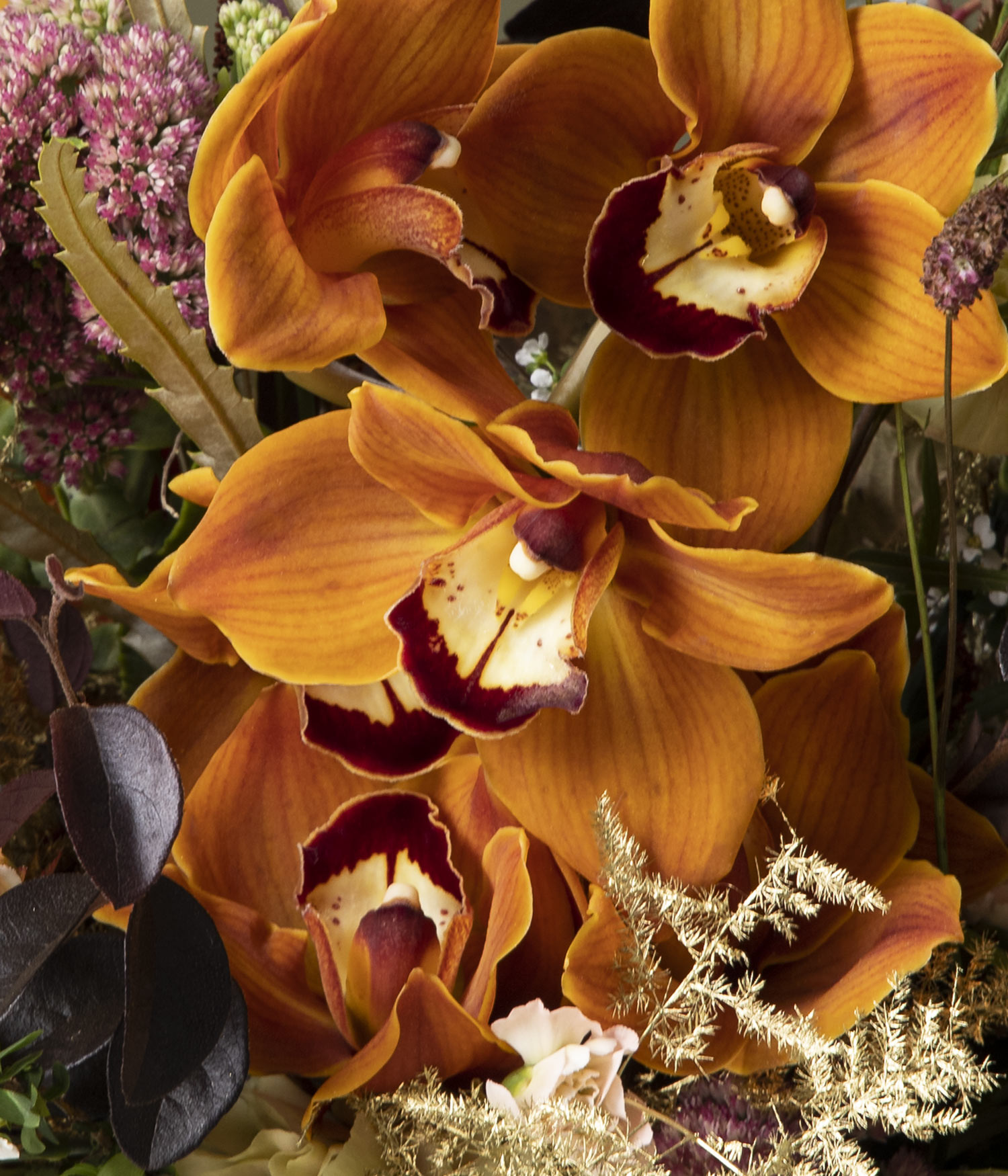 Golden Hour Orchid Flower Bouquet by flannel flowers florist