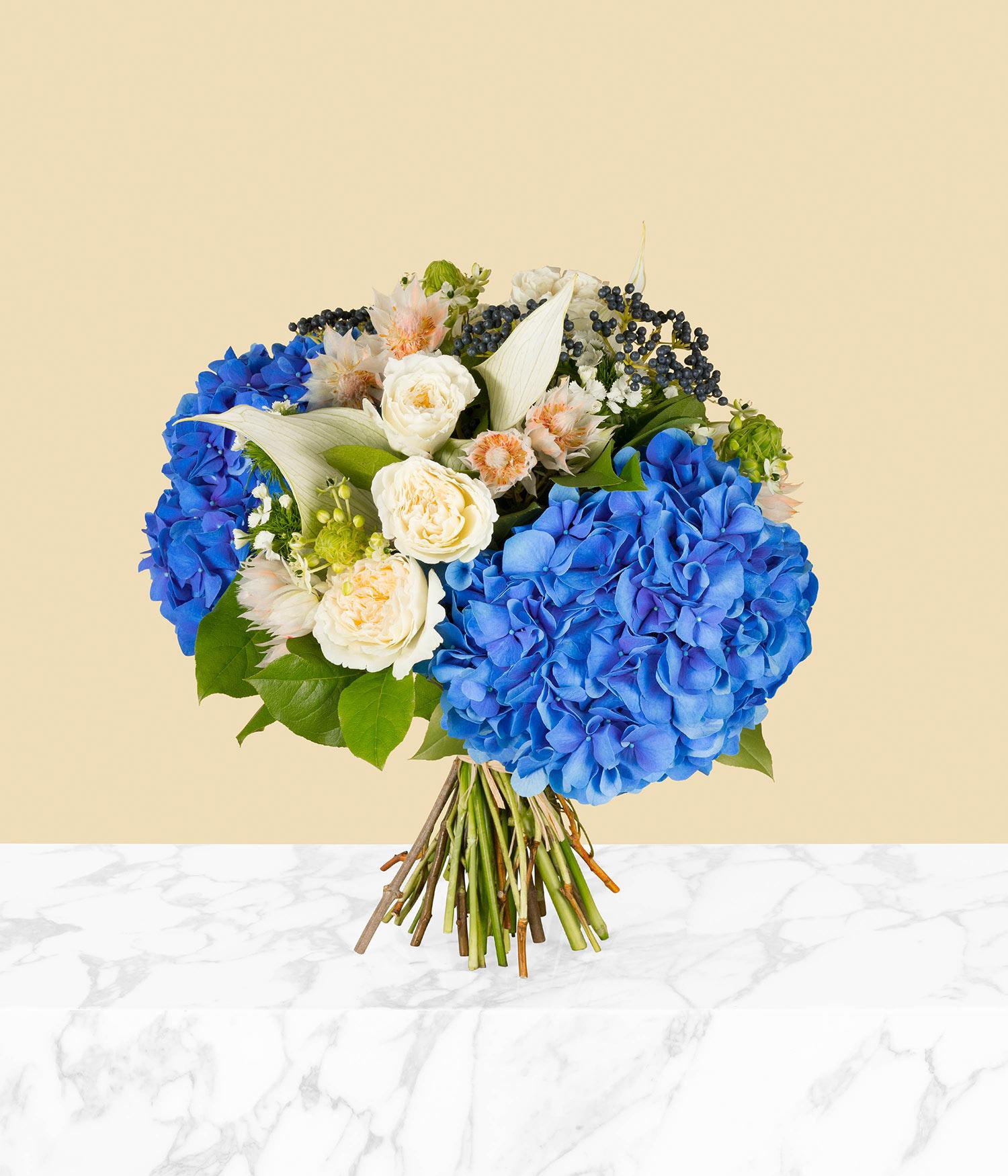 O'Keeffe Blue Hydrangea and Rose Flower Bouquet by flannel flowers
