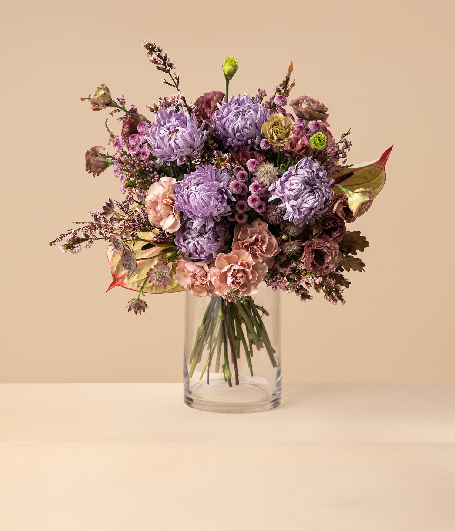 Luna aster and eustoma flower bouquet by flannel flowers florist