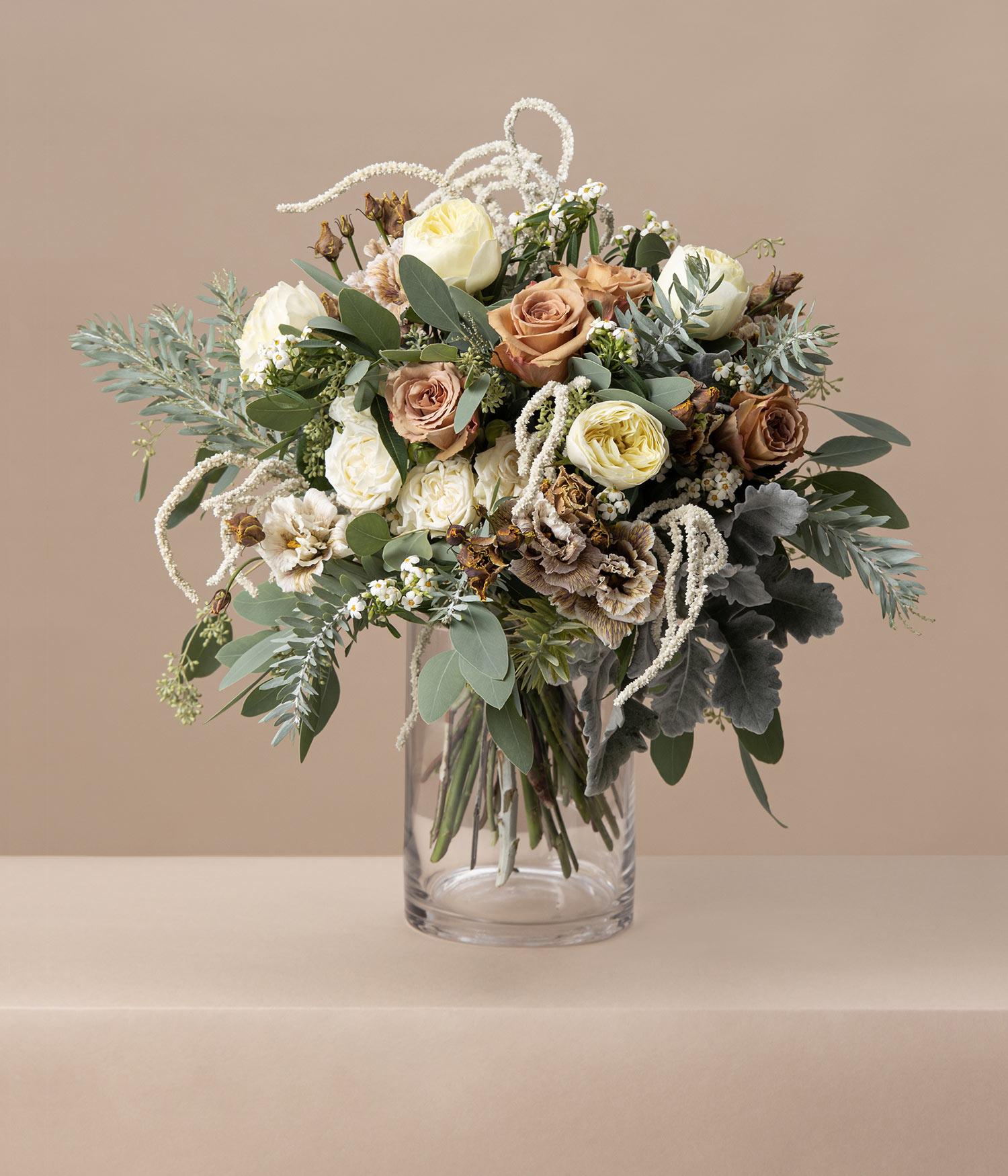 Cafe Au Lait Garden Rose and Eustoma flower bouquet by flannel flowers florist